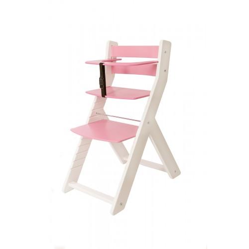 Dětská rostoucí židle UNIZE Wood Partner bílá růžová