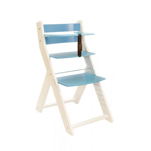 Dětská rostoucí židle UNIZE Wood Partner bílá modrá