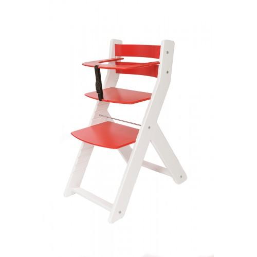 Dětská rostoucí židle UNIZE Wood Partner bílá červená
