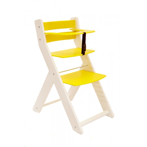 Dětská rostoucí židle UNIZE Wood Partner bílá žlutá