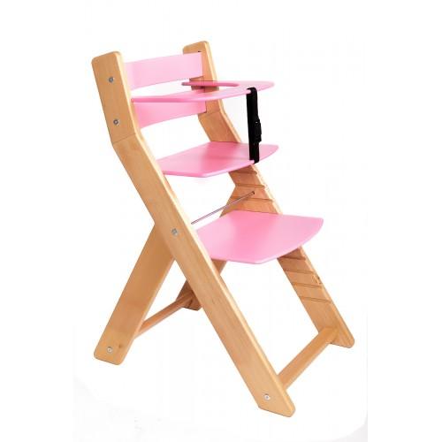 Dětská rostoucí židle UNIZE Wood Partner natur růžová