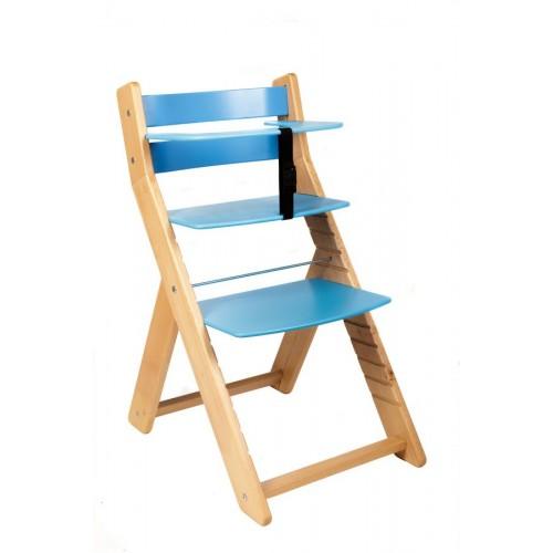 Dětská rostoucí židle UNIZE Wood Partner natur modrá