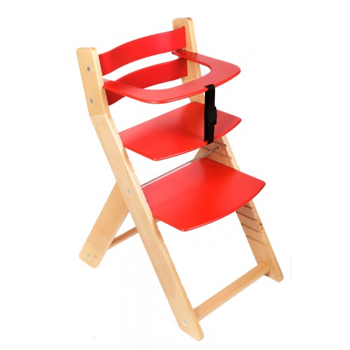 Dětská rostoucí židle UNIZE Wood Partner natur červená