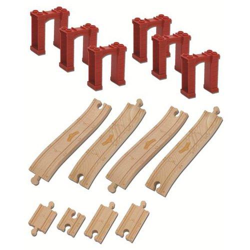 Chuggington - Sada stoupajících kolejí s mostnimi pilíři- dřevěné mašinky
