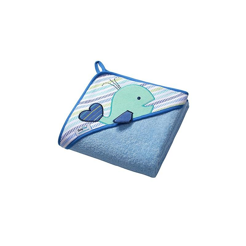 Osuška s kapucí - froté 100x100 Velryba - Modrá