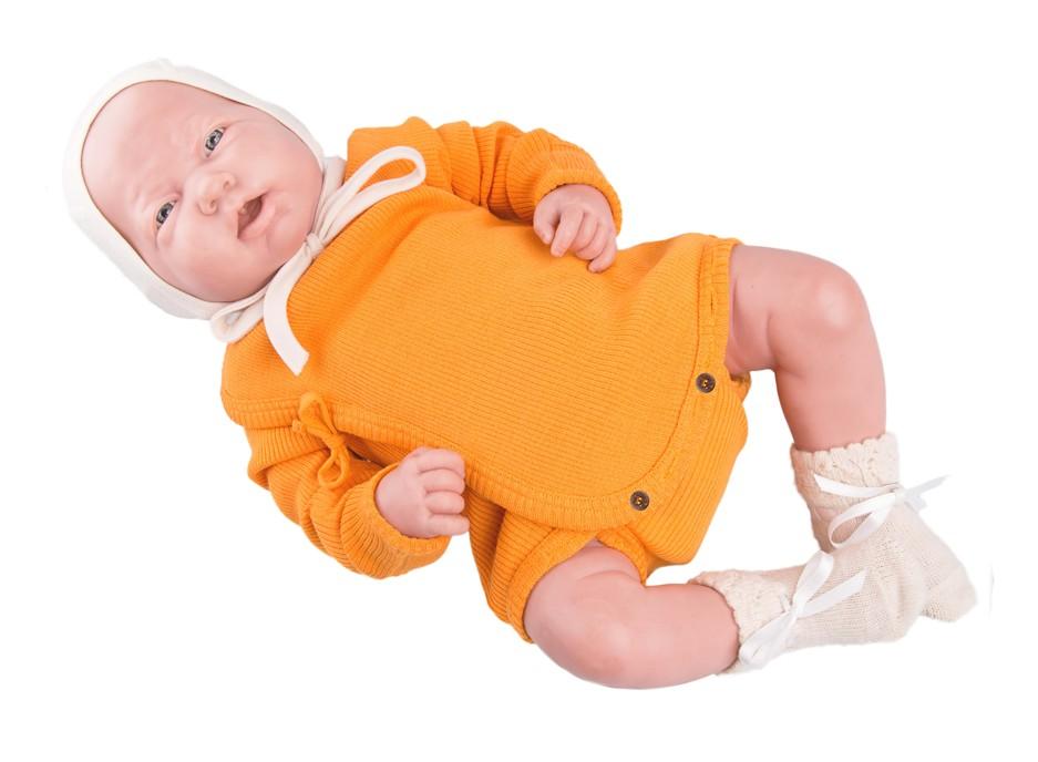 Manymonths zavinovací body/tričko merino 16 Saffron Yellow-Newcomer/Charmer...0-6/9 měs.