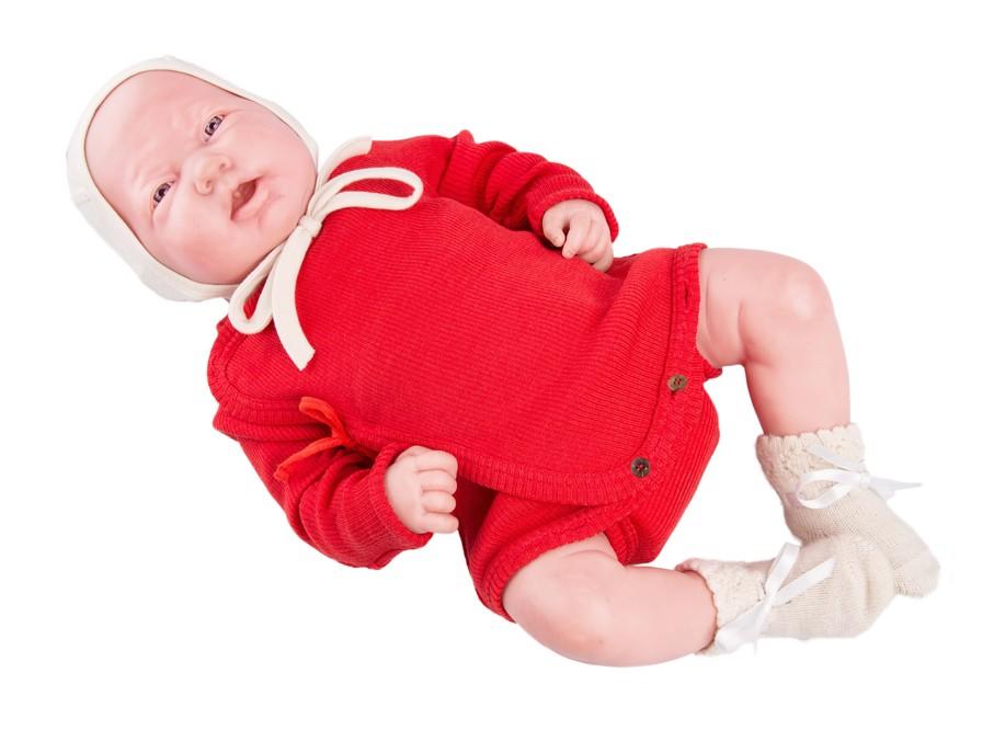Manymonths zavinovací body/tričko merino 16 Poppy Red-Newcomer/Charmer...0-6/9 měs.