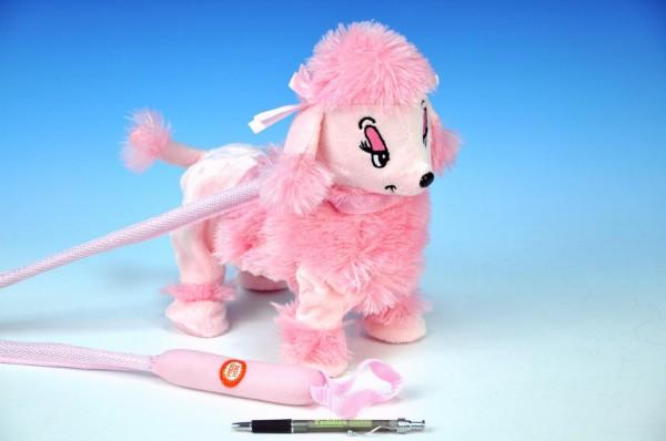 Pejsek Pudl na tyčce růžový chodící a hrající plyš na baterie 30cm
