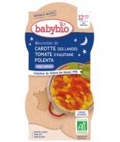 2x BABYBIO Good Night mrkev s rajčatovým pyré, sladkou kukuřicí a polentou (200 g)