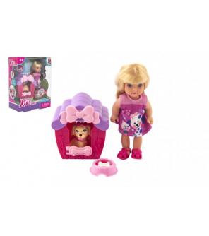 Panenka Kiki Anlily kloubová plast 12cm s mazlíčkem v boudě v krabičce 12x16x6cm