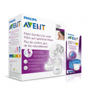 Philips Avent Odsávačka mateř.ml. Natural se zásobníkem 125ml + VIA 180ml 5ks