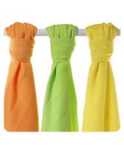 KIKKO Pleny bambusové Colours 70x70 (3 ks) – lime, lemon, orange