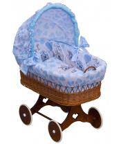 Scarlett Proutěný košík na miminko s boudičkou Scarlett Kulíšek - modrá