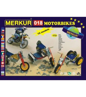 Stavebnice MERKUR 018 Motocykly 10 modelů 182ks v krabici 26x18x5cm