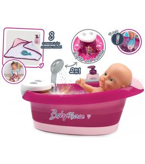 Smoby SM220362 Vanička s tekoucí vodou elektronická Violette Baby Nurse  s jacuzzi koupelí a Led osvětlením pro 42 cm panenku