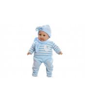 Panenka/miminko Arias vonící 45cm modré šaty plačící měkké tělo na baterie v krabici