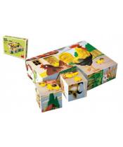 Kostky kubus Domácí zvířátka dřevo 12ks v krabičce 16x12x4cm