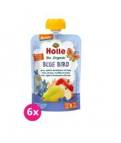 6x HOLLE Blue Bird Bio pyré hruška jablko borůvky vločky 100 g (6+)