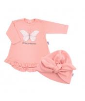 Kojenecké šatičky s čepičkou-turban New Baby Little Princess růžové