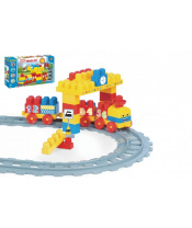Baby Blocks vlak s kolejemi a stavebnicí plast délka dráhy 2,24m s doplňky v krabici 56x30x8cm 12m+