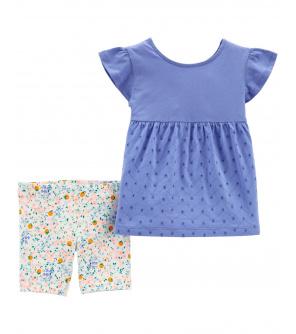 CARTER'S Set 2dílný tunika, kalhoty kr. Blue dívka 6 m, vel. 68