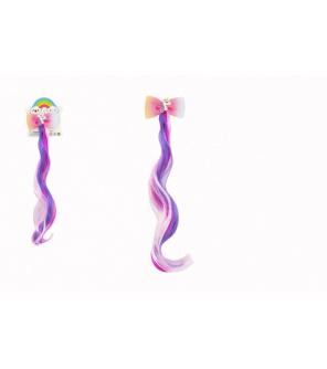 Spona do vlasů mašle s jednorožcem s duhovým příčeskem kov/plast 7x30cm v sáčku