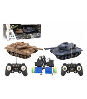 Tank RC 2ks 25cm tanková bitva+dobíjecí pack 27MHZ a 40MHz se zvukem se světlem v krabici 50x20x23cm