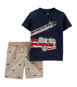 CARTER'S Set 2dílný tričko kr. rukáv, kalhoty kr. Firetruck chlapec 9 m, vel. 74