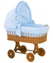 Scarlett Proutěný koš pro miminko s boudičkou Méďa - modrý