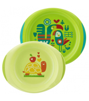 Jídelní sada - talíř,miska 12m+, zelená