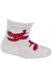 WOLA Ponožky kojenecké bavlněné se vzorem kluk Grey 15-17