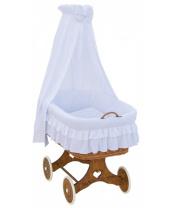 Scarlett Proutěný košík pro miminko s nebesy Martin - bílá