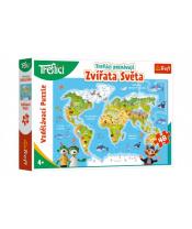 Puzzle Treflíci poznávají Zvířata světa 48 dílků 60x40cm v krabici 33x23x6cm