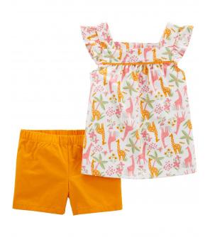 CARTER'S Set 2dílný tunika, kalhoty kr. Orange Jungle dívka 12 m, vel. 80