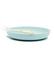 NATTOU Set jídelní silikonový 2 ks talíř a lžička mint bez BPA