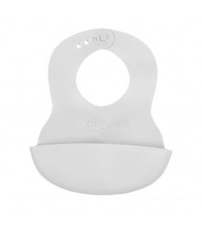 Nastavitelný plastový bryndák s kapsičkou Baby Ono světle šedý