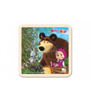 Skládačka Puzzle dřevo Máša a Medvěd se zajícem 4ks 15x15cm 12m+