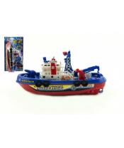 Loď/Člun plast 25cm na baterie stříkací vodu na kartě