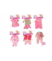 Oblečky/Šaty pro panenky/miminka velikosti cca 30cm 6 druhů 1ks v sáčku 25x40cm