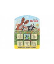 Razítka Krtek s poduškou 5x5cm dřevěná 6ks na kartě