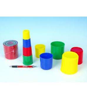 Kubus pyramida skládanka kulatá plast asst 4 barvy 9ks v sáčku 9x9x8cm 12m+