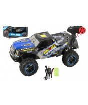 Auto RC terénní modré 39cm plast 2,4GHz na baterie + dobíjecí pack v krabici 46x21x27cm
