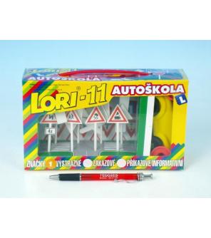 Stavebnice LORI 11 Autoškola Dopravní značky 16ks+2 kužely+auto plast v krabici 22x13x6cm