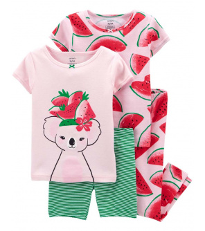 CARTER'S Pyžamo dlouhé a krátké kalhoty, krátký rukáv 2ks Watermelon dívka 12m