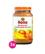 3x HOLLE Ovocné müsli – dětská ovocná přesnídávka, 220 g