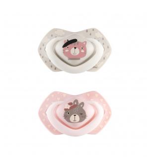 CANPOL BABIES Set symetrických silikonových dudlíků 6-18m Bonjour Paris růžový