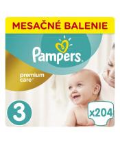 PAMPERS Premium Care 3 MIDI 204 ks (6-10 kg) MĚSÍČNÍ ZÁSOBA – jednorázové pleny