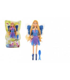 Panenka víla s křídly plast s doplňky 30cm modrá na baterie se světlem v blistru 20x32x7cm