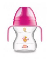 MAM Hrnek na učení Learn to drink cup Little Farm 190 ml, 6+ m růžový