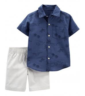 CARTER'S Set 2dílný košile, kalhoty kr. Blue White chlapec 9 m, vel. 74